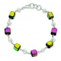 Pink Yellow Diachronic Glass Pearls Bracelet in Sterling Silver