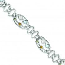 CZ Multi-Color Gemstone Bracelet in Sterling Silver