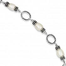 Antiqued Pearl Bracelet in Sterling Silver