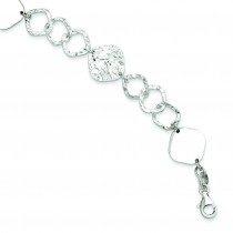 Polished Fancy Link Bracelet in Sterling Silver