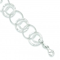 Polished Fancy Circle Link Bracelet in Sterling Silver