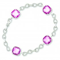 Square CZ Pink Checkerboard Bracelet in Sterling Silver
