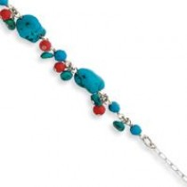 Dyed Howlite Coral Bracelet in Sterling Silver