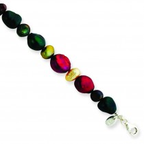 Multi Gemstone Pearl Bracelet in Sterling Silver