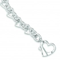 7.5inch Heart Link Bracelet in Sterling Silver