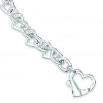 7.5inch Heart Link Bracelet in Sterling Silver