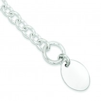 Oval Disc on Link Bracelet in Sterling Silver