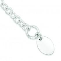Oval Disc on Link Bracelet in Sterling Silver