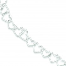 8inch Large Heart Link Bracelet in Sterling Silver
