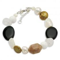 CarnelianQuartzJasperJadeFw Cultured Pearl Bracelet in Sterling Silver