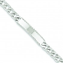 Polished Diamond-Cut Engravable Curb Link ID Bracelet in Sterling Silver