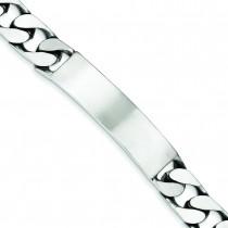 Engravable Antiqued Curb Link ID Bracelet in Sterling Silver