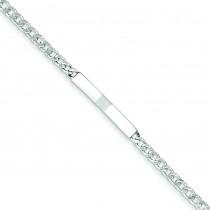 Polished Engravable Curb Link ID Bracelet in Sterling Silver