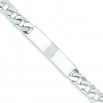 Polished Engravable Curb Link ID Bracelet in Sterling Silver