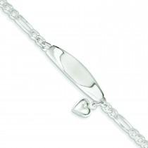 ID Heart Figaro Link Bracelet in Sterling Silver