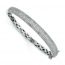 CZ Brilliant Embers Bangle Bracelet in Sterling Silver