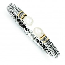 Pearl Diamond Cuff Bracelet in 14k Yellow Gold & Sterling Silver