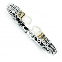 Pearl Diamond Cuff Bracelet in 14k Yellow Gold & Sterling Silver