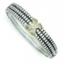 Diamond Bangle Bracelet in 14k Yellow Gold & Sterling Silver