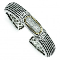 Diamond Cuff Bracelet in 14k Yellow Gold & Sterling Silver