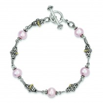10mm Pink Pearl 7.5in Bracelet in 14k Yellow Gold & Sterling Silver