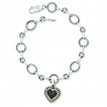Black Diamond Heart Link Bracelet in 14k Yellow Gold & Sterling Silver