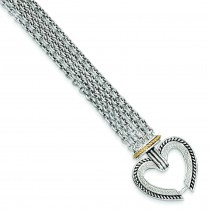 Diamond Heart Bracelet in 14k Yellow Gold & Sterling Silver