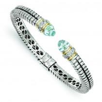 Topaz Diamond Cuff Bracelet in 14k Yellow Gold & Sterling Silver
