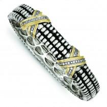 Diamond Bangle Bracelet in 14k Yellow Gold & Sterling Silver