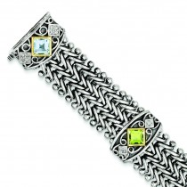 Multi Gemstone Diamond Bracelet in 14k Yellow Gold & Sterling Silver