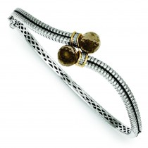 Quartz Diamond Bangle Bracelet in 14k Yellow Gold & Sterling Silver