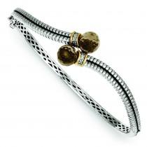 Quartz Diamond Bangle Bracelet in 14k Yellow Gold & Sterling Silver