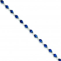 Blue Clear CZ Bracelet in Sterling Silver