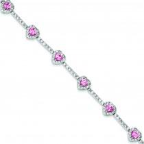 7inch CZ Heart Bracelet in Sterling Silver