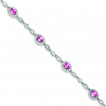 Pink Clear CZ Bracelet in Sterling Silver