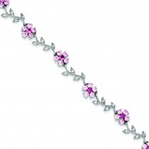 7.75inch CZ Flower Bracelet in Sterling Silver