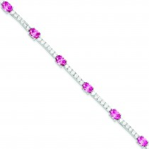 7inch Pink Clear CZ Bracelet in Sterling Silver