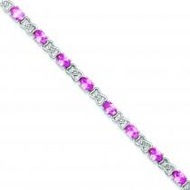 7inch Pink CZ Bracelet in Sterling Silver