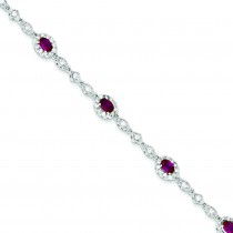 7inch Red Clear CZ Bracelet in Sterling Silver