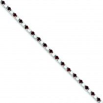 7inch Red White CZ Bracelet in Sterling Silver
