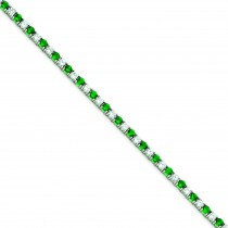 7inch Green White CZ Bracelet in Sterling Silver