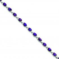 Oval Amethyst Bracelet in Sterling Silver