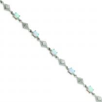 White Opal Bracelet in Sterling Silver