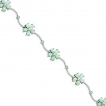 7inch Opal Flower Bracelet in Sterling Silver