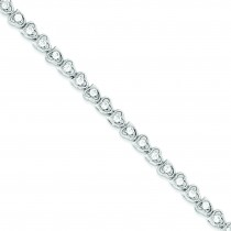 CZ Heart Bracelet in Sterling Silver