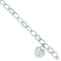 CZ Heart Dangle Bracelet in Sterling Silver