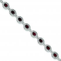Garnet Filigree Bracelet in Sterling Silver