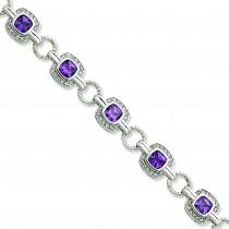 Purple Clear CZ Bracelet in Sterling Silver