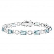 Blue Clear CZ Bracelet in Sterling Silver
