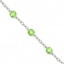 CZ Textured Link Bracelet in Sterling Silver